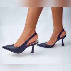 Black Pyramid Heel Slingbacks